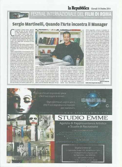 Il nostro agente Sergio Martinelli su La Repubblica